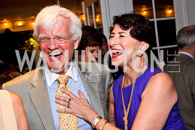 """Al Hunt, Paula Stern. Ira Shapiro's """"The Last Great Senate"""" book party. Photo by Tony Powell. April 16, 2012"""