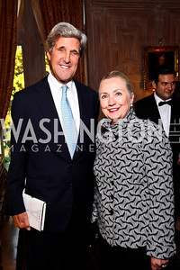 "Sen. John Kerry, Sec. Hillary Clinton. Kati Marton's ""Paris: A Love Story"" book launch. Photo by Tony Powell. Residence of the Ambassador of France. September 10, 2012"