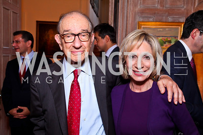 "Dr. Alan Greenspan and Andrea Mitchell. Kati Marton's ""Paris: A Love Story"" book launch. Photo by Tony Powell. Residence of the Ambassador of France. September 10, 2012"