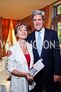 "Kati Marton, Sen. John Kerry. Kati Marton's ""Paris: A Love Story"" book launch. Photo by Tony Powell. Residence of the Ambassador of France. September 10, 2012"