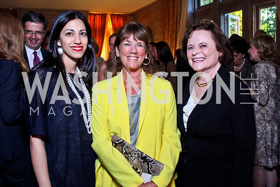 "Huma Abedin, Susie Trees, Elizabeth Stevens. Kati Marton's ""Paris: A Love Story"" book launch. Photo by Tony Powell. Residence of the Ambassador of France. September 10, 2012"