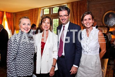"Sec. Hillary Clinton, Kati Marton, Amb. François Delattre and Madame Sophie L'Hélias Delattre. Kati Marton's ""Paris: A Love Story"" book launch. Photo by Tony Powell. Residence of the Ambassador of France. September 10, 2012"