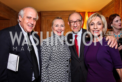 "Dan Glickman, Sec. Hillary Clinton, Dr. Alan Greenspan and Andrea Mitchell. Kati Marton's ""Paris: A Love Story"" book launch. Photo by Tony Powell. Residence of the Ambassador of France. September 10, 2012"