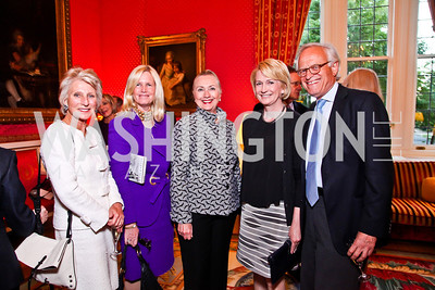 "Jane Harman, Susan Blumenthal, Sec. Hillary Clinton, Gahl Burt and Martin Indyk. Kati Marton's ""Paris: A Love Story"" book launch. Photo by Tony Powell. Residence of the Ambassador of France. September 10, 2012"