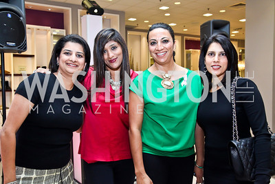 Seema Kumar, Shuba Iyengar, Anju Suri, Geeta Mathur. Photo by Tony Powell. Kickoff for Key to the Cure. Saks Tyson's Galleria. October 18, 2012