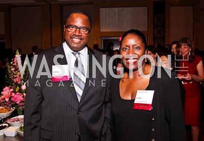 Rev. Jeffrey Haggray, Linda Wharton-Boyd. Leadership Greater Washington's Annual Awards Gala. Photo by Tony Powell. JW Marriott. April 17, 2012