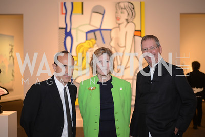 R-L Jack Cowart, Agnus Gund, Harry Cooper,  Roy Lichtenstein Retrospective opens at the National Gallery of Art.  Photo by Ben Droz.