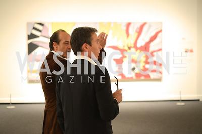 Vincent Sanchez talks with Olivier Robert,  Roy Lichtenstein Retrospective opens at the National Gallery of Art.  Photo by Ben Droz.