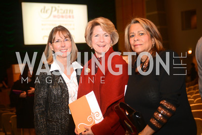Theresa Godwin, Janine Crocker, Judy Stearns,  National Women's History Museum, De Pizan Gala.  Dr. Maya Angelou, the Honorable Elizabeth Dole, Photographer Annie Leibovitz honored. Photo by Ben Droz.