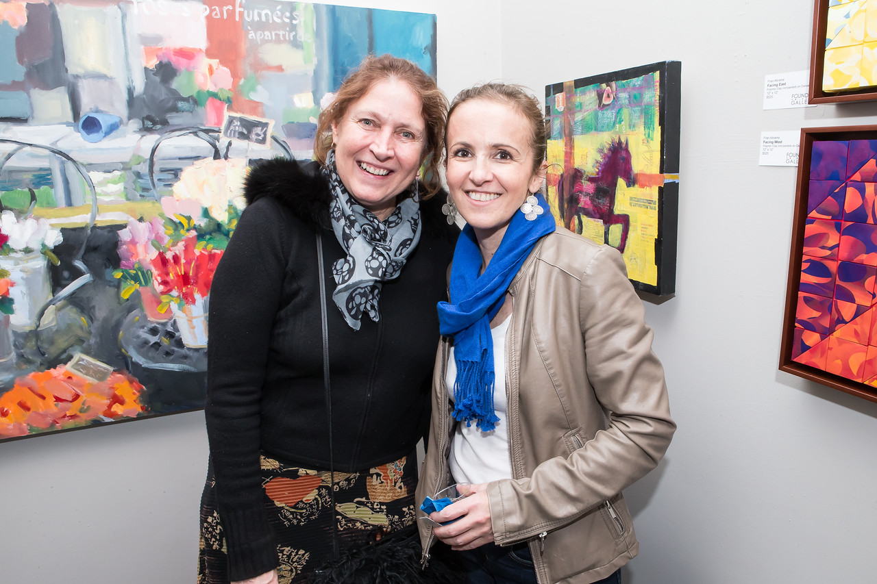Meg MacKenzie, Ana Elisa Benavent. Photo by Alfredo Flores. Opening Reception for Edward Bear Miller Exhibit. Foundry Gala. January 4, 2013.
