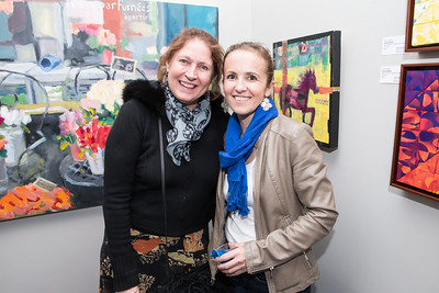 Meg MacKenzie, Ana Elisa Benavent. Photo by Alfredo Flores. Opening Reception for Edward Bear Miller Exhibit. Foundry Gala. January 4, 2013.