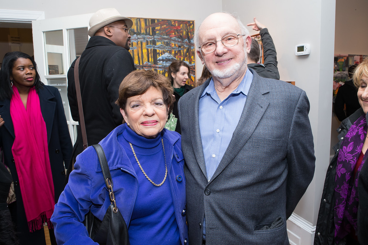 Alice Rivlin, Ed Winter. Photo by Alfredo Flores. Opening Reception for Edward Bear Miller Exhibit. Foundry Gala. January 4, 2013.
