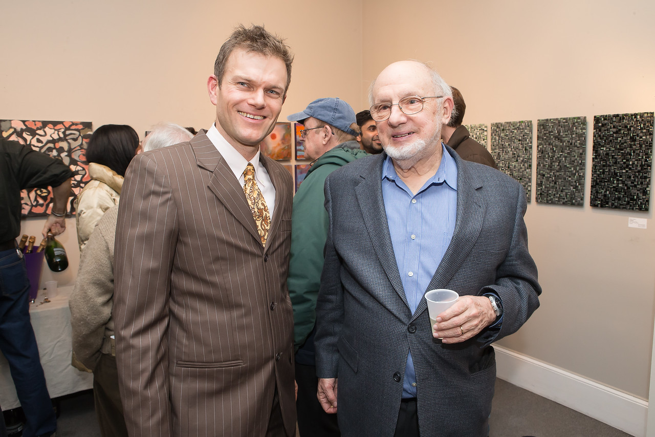 Ed Miller, Sid Winter. Photo by Alfredo Flores. Opening Reception for Edward Bear Miller Exhibit. Foundry Gala. January 4, 2013.