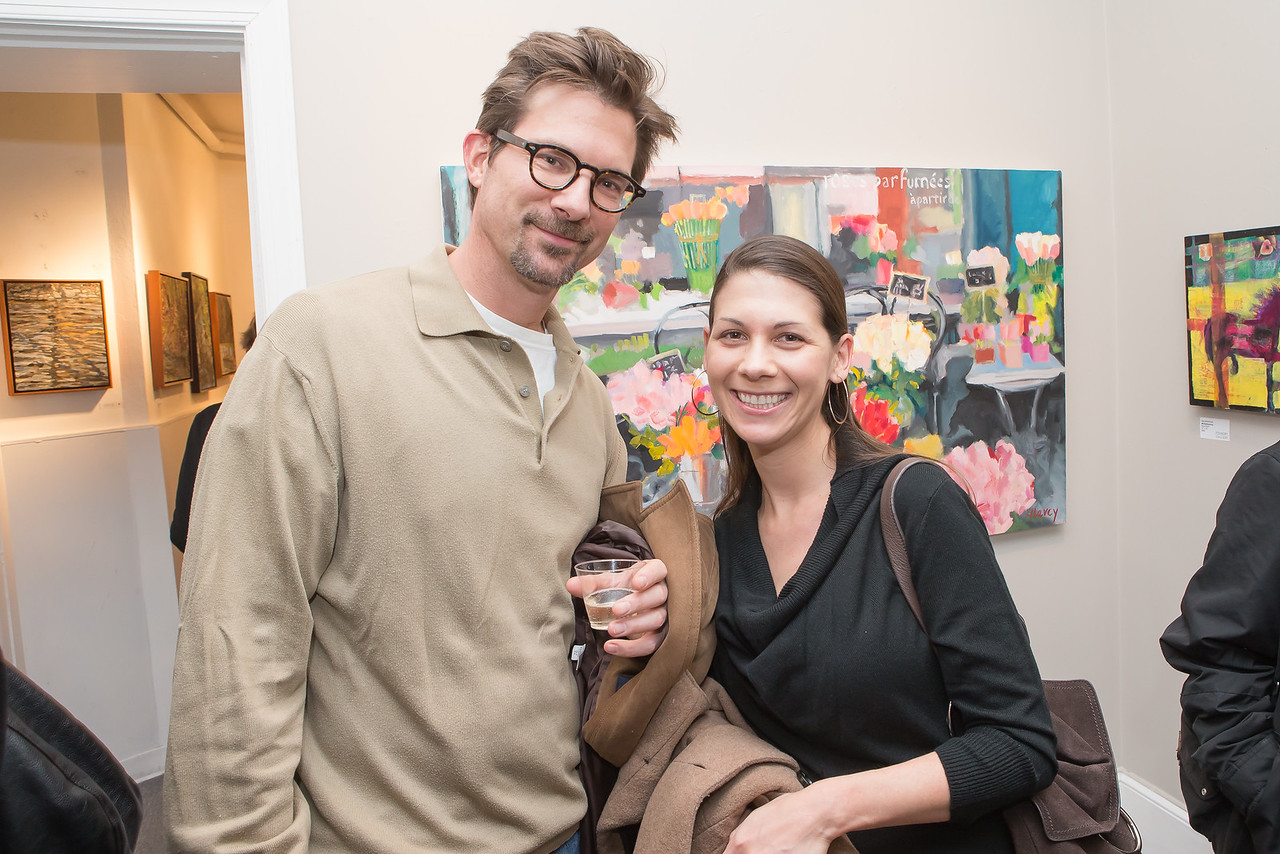 Andrew Huston, Christina Breuer. Photo by Alfredo Flores. Opening Reception for Edward Bear Miller Exhibit. Foundry Gala. January 4, 2013.