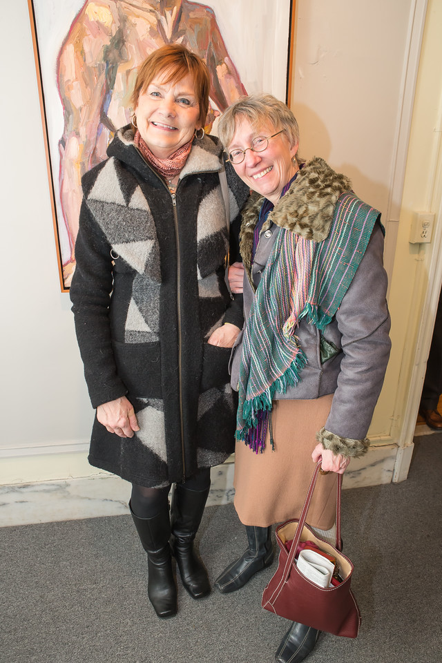 Nancy Bearg, Jeanne Drewes, Photo by Alfredo Flores. Opening Reception for Edward Bear Miller Exhibit. Foundry Gala. January 4, 2013.