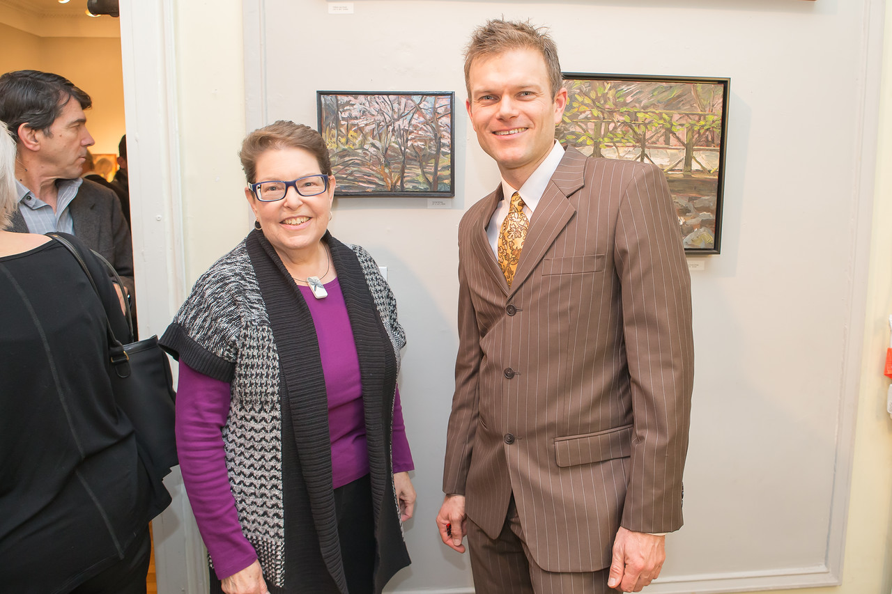 Fran Abrams, Ed Miller. Photo by Alfredo Flores. Opening Reception for Edward Bear Miller Exhibit. Foundry Gala. January 4, 2013.