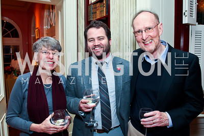 Janna Malamud, Nate Brown, David Smith. Photo by Tony Powell. PEN/Faulkner Evening Honoring James Salter. Residence of C. Boyden Gray. December 6, 2012