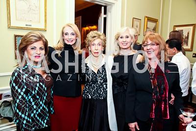 Annie Totah, Rhona Friedman, Ina Ginsburg, Willee Lewis, Deborah Ashford. Photo by Tony Powell. PEN/Faulkner Evening Honoring James Salter. Residence of C. Boyden Gray. December 6, 2012