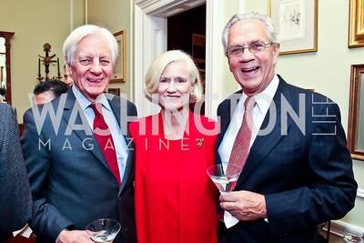 Kevin Klose, Caroline Croft, John Jeppson. Photo by Tony Powell. PEN/Faulkner Evening Honoring James Salter. Residence of C. Boyden Gray. December 6, 2012