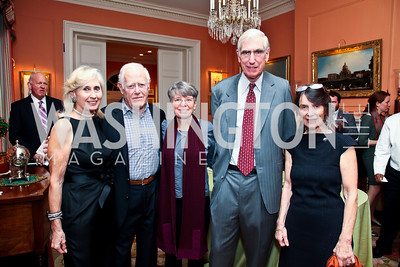 Willee Lewis, James Salter, Janna Malamud, C. Boyden Gray, Susan Shreve. Photo by Tony Powell. PEN/Faulkner Evening Honoring James Salter. Residence of C. Boyden Gray. December 6, 2012