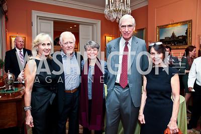 Willee Lewis, James Salter, Janna Malamud, C. Boyden Gray, Susan Shreve. Photo by Tony Powell. PEN/Faulkner Evening Honoring James Salter. Residence of C. Boyden Gray. December 6, 2012