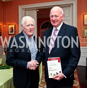 James Salter, Michael Pillsbury. Photo by Tony Powell. PEN/Faulkner Evening Honoring James Salter. Residence of C. Boyden Gray. December 6, 2012