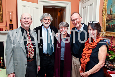 Paul Malamud, Alan Cheuse, Janna Malamud, David Smith, Susan Shreve. Photo by Tony Powell. PEN/Faulkner Evening Honoring James Salter. Residence of C. Boyden Gray. December 6, 2012