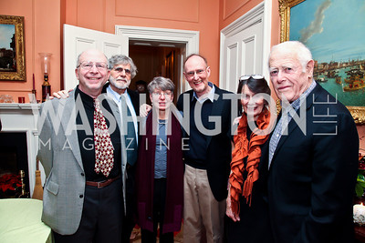 Paul Malamud, Alan Cheuse, Janna Malamud, David Smith, Susan Shreve, James Salter. Photo by Tony Powell. PEN/Faulkner Evening Honoring James Salter. Residence of C. Boyden Gray. December 6, 2012