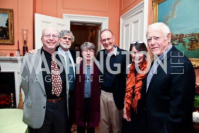Paul Malamud, Alan Cheuse, Janna Malamud, David Smith, Susan Shreve, James Salter. Photo by Tony Powell. PEN/Faulkner Evening Honoring James Salter. Residence of C. Boyden Gray. December 6, 2012