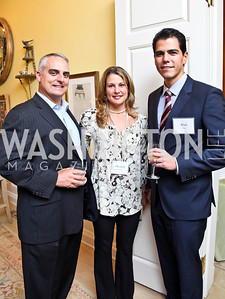 "David and Michelle Joubran, Rick Cruz. Photo by Tony Powell. Paul Tough ""How Children Succeed"" Book Party. Bradley residence. October 9, 2012"