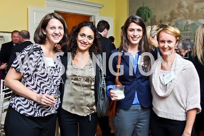 "Allison Fransler, Sheila Sarem, Claire Godwin, Kristin Ehrgood. Photo by Tony Powell. Paul Tough ""How Children Succeed"" Book Party. Bradley residence. October 9, 2012"