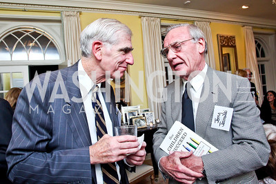 """C. Boyden Gray, Jerry Jasinowski. Photo by Tony Powell. Paul Tough """"How Children Succeed"""" Book Party. Bradley residence. October 9, 2012"""