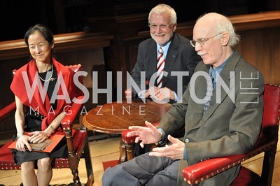 Julie Otsuka, Russell Banks, Steven Millhauser.The Pen/Faulkner Awards at the Folger Shakespeare Library.  Photo by Ben Droz.