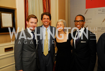 "Nick Schmit, Mark Shriver, Susan Axelrod, Jonathan Capehart,  Reception for ""A Good Man"" by Mark Shriver at the Jefferson Hotel, June 6, 2012, Kyle Samperton"