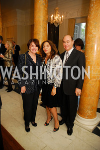 Marlene Malek,Samia Farouki,Huda Farouki,,April 11,2012,Reception for Dame Jillian Sackler at The Residence of the British Ambassador,Kyle Samperton