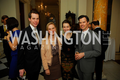 Adam Ozmer,Lyz Bridgforth,Carly Pippin,George Rogers,April 11,2012,Reception for Dame Jillian Sackler at The Residence of the British Ambassador,Kyle Samperton