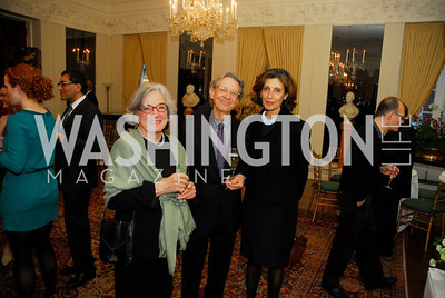 Jane Washburn Robinson,Stanley Staniski,Massumeh Farhad,April 11,2012,Reception for Dame Jillian Sackler at The Residence of the British Ambassador,Kyle Samperton