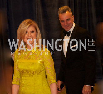 Ariana Huffington, Daniel Day Lewis at the White House Correspondents Dinner Red Carpet at the Washington Hilton.  Photo by Ben Droz