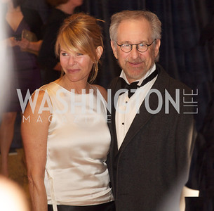 Mr. and Mrs. Stephen Spielberg at the White House Correspondents Dinner Red Carpet at the Washington Hilton.  Photo by Ben Droz