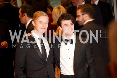 Dane DeHaan, Daniel Radcliffe.  White House Correspondents Dinner Red Carpet at the Washington Hilton.  Photo by Ben Droz
