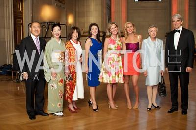 Japanese Ambassador Ichiro Fujisaki, Yoriko Fujisaki, Didi Cutler, Jodi Bond, Mariella Trager, Mary Anne Huntsman, Hadassah Lieberman, Sam Waterston. Photo by Ben Droz.