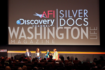 """Director Ramona Diaz discusses her film """"Don't Stop Believin': Everyman's Journey."""" Silverdocs Opening Night. Photo by Tony Powell. AFI. June 18, 2012"""