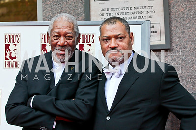 Ford's Theatre 2012 Lincoln Medal Recipient Morgan Freeman, Actor Laurence Fishburne. Ford's Theatre Annual Gala. Photo by Tony Powell. June 3, 2012