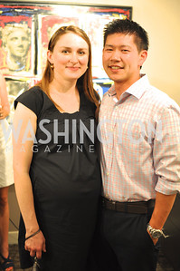 Ola Chen, Thomas Chen. TTR Sotheby's hosts an art opening for Brian Petro at their Chevy Chase office.  Photo by Ben Droz