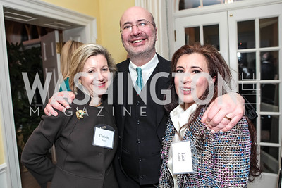 Christie Weiss, Marc Stone, Luz Lopez. Cocktail Kick-off Party for Teach For America's May 9, 2012 Gala. The home of Katherine and David Bradley. January 24, 2012. Photos by Alfredo Flores