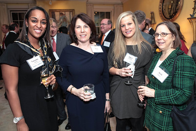 Natasha Alford, Joey Sloter, Abigail Marshall, Beth Hadley. Cocktail Kick-off Party for Teach For America's May 9, 2012 Gala. The home of Katherine and David Bradley. January 24, 2012. Photos by Alfredo Flores