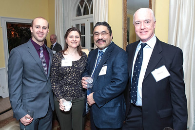 Josh Henderson, Paula Hisaoka, Robert Hisaoka, David Bradley. Cocktail Kick-off Party for Teach For America's May 9, 2012 Gala. The home of Katherine and David Bradley. January 24, 2012. Photos by Alfredo Flores