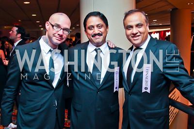 Rising Culinary Star Award winner Ed Witt, Chef of the Year Award winner Vikram Sunderam, Restaurateur Ashok Bajaj. The 2012 Rammy Awards Gala. Photo by Tony Powell. Marriott Wardman Park. June 24, 2012