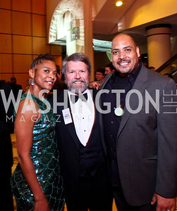 Actress Deidra LaWan Starnes, Board member Glen Howard, Award recipient Michael Bobbitt. The 28th Helen Hayes Awards. Photo by Tony Powell. April 23, 2012