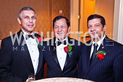 Singapore Amb. Ashok Mirpuri, Cambodia Amb. Hem Heng, Nepal Amb. Shankar Sharma. The 34th Annual Ambassadors Ball. Photo by Tony Powell. Ritz Carlton. September 12, 2012